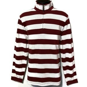 J Crew Mercantile White/Maroon 1/4 Zip Sweatshirt